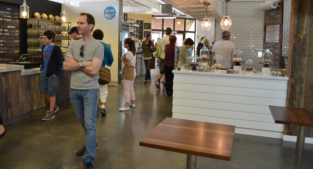 Curious locals streamed through the Santa Barbara Public Market to check out the goods after its April 14 opening. (Giana Magnoli / Noozhawk photo)