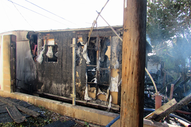A fire destroyed a trailer Tuesday in the 1700 block of South McClelland Street in Santa Maria.