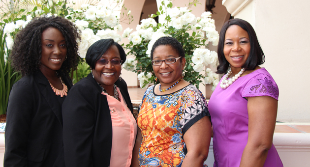 <p>From left, singer Malynda Hale, event chairwoman Wendy Sims-Moten, author Jackie Joice and keynote speaker Qiana Charles make connections by &#8220;Stepping Out and Stepping Forward&#8221; at the third annual African American Women's Luncheon held at Fess Parker&#8217;s DoubleTree Resort.</p>