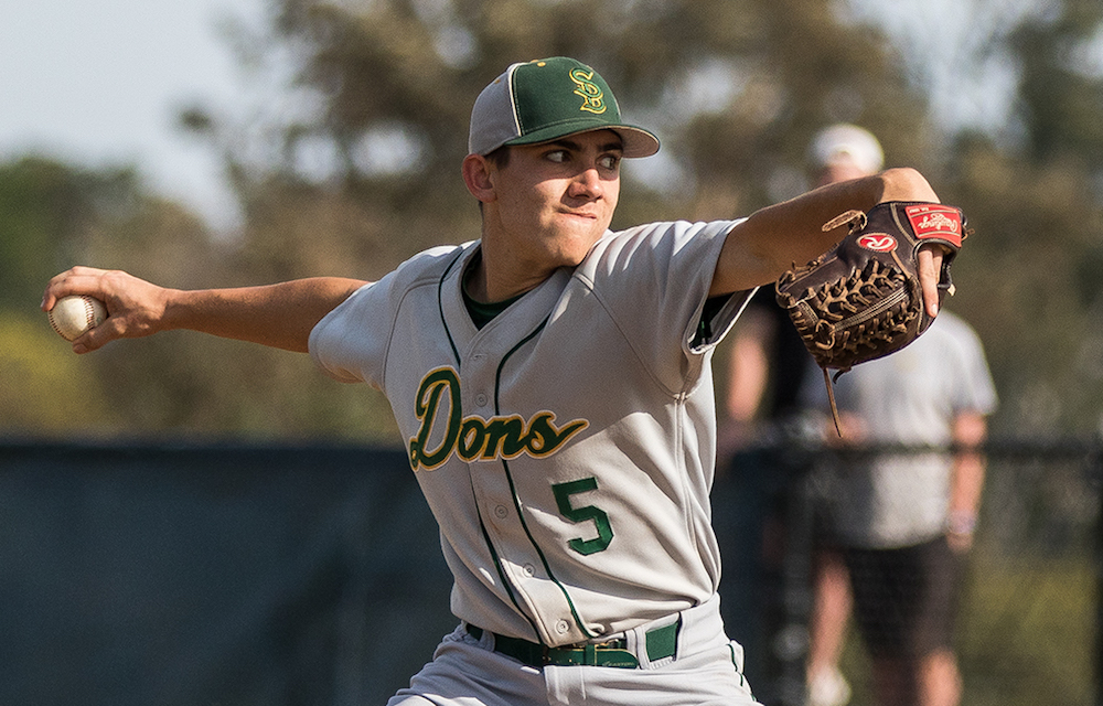 Santa Barbara's Bijan Palme, shown in an earlier game, pitched a complete-game victory against San Marcos.
