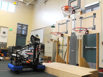 The Lindsay Rose robot practices shooting basketballs at the Dos Pueblos Engineering Academy last week.