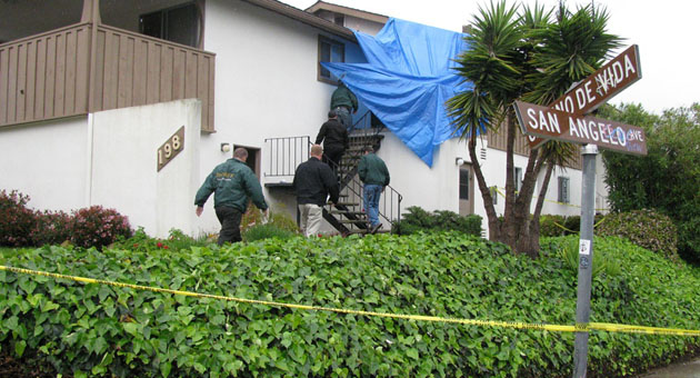 Authorities from the Santa Barbara County Sheriff's Department and Coroner's Office arrive at the scene of an apparent murder-suicide early Friday at an apartment on Camino de Vida near San Marcos High School.