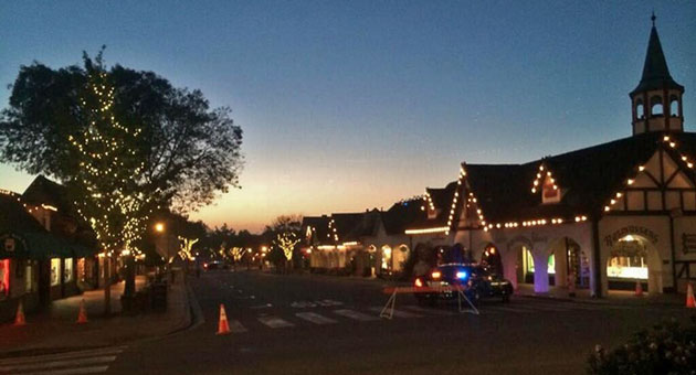 The streets of downtown Solvang were deserted Wednesday night after authorities ordered evacuations following discovery of what was described as a 'military ordnance.'