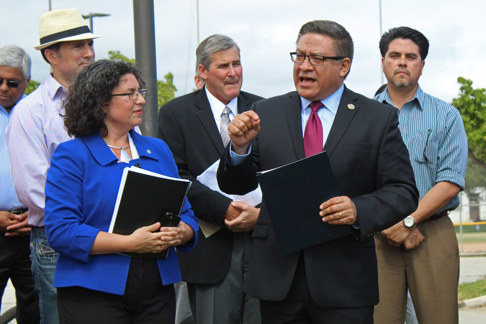 Santa Barbara Mayor Helene Schneider and Congressman Salud Carbajal were among local leaders speaking at a press conference Monday in Santa Barbara to emphasize the critical role Community Development Block Grants play locally. President Trump has proposed eliminating the program.