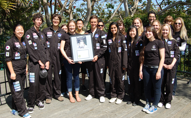 <p>Santa Barbara Zoo officials on Tuesday presented the Dos Pueblos High School Robotics Team 1717 with a framed certificate and photo of adopted mascot &#8220;1717ina,&#8221; aka Tina, a Humboldt penguin in the Foster Feeder Program.</p>