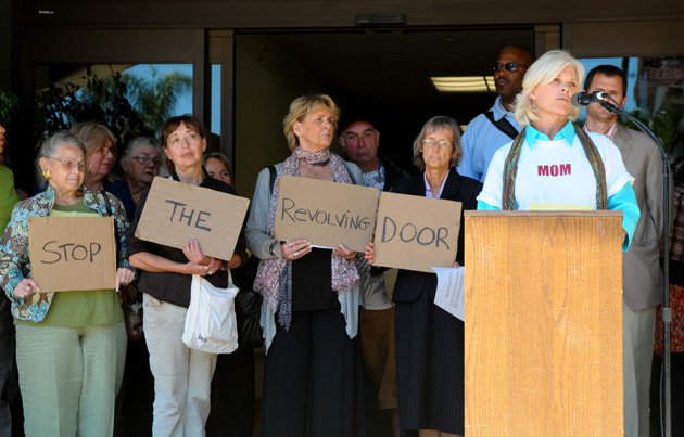 <p>Deborah McRoberts speaks during a news conference held Tuesday by Families ACT! to call for more support services for the mentally ill in Santa Barbara County. The group just published a report it believes can help with the &#8220;revolving door&#8221; between the mentally ill and the Santa Barbara County jail system.</p>
