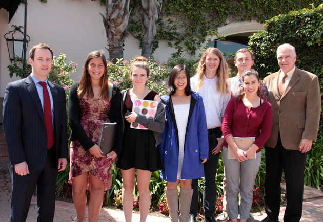 <p>From left, Scott Mastic of the International Republican Institute, Anacapa School sophomore Lara Kostruba, junior Lia Milar, sophomore Pica Zhuang, junior Sam Robertson, junior Francis Brand, junior Grace Strelich and Leslie Campbell of the National Democratic Institute for International Affairs at Monday&#8217;s Channel City Club event.</p>