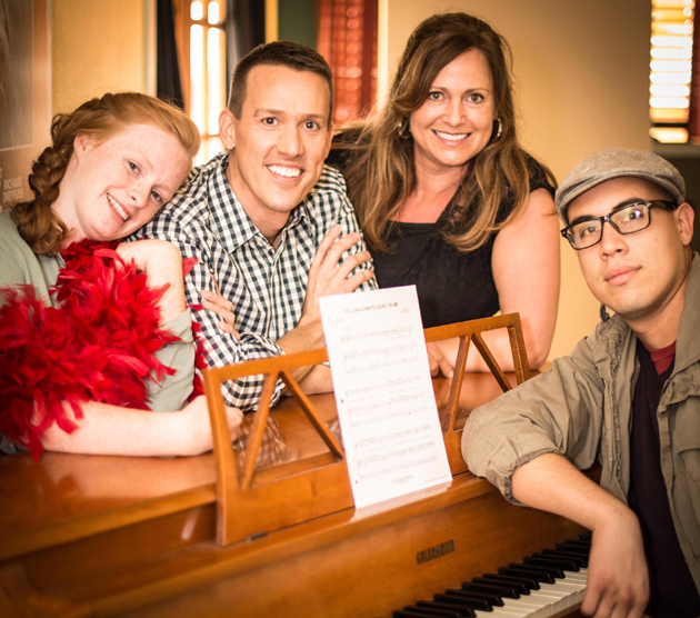 <p>From left, Quinlan Fitzgerald, William Simpson, Anne Guynn and Richard Lonsbury take center stage in Elements Theatre Collective&#8217;s current offering, <em>Aspirations, A Musical Revue</em>.</p>