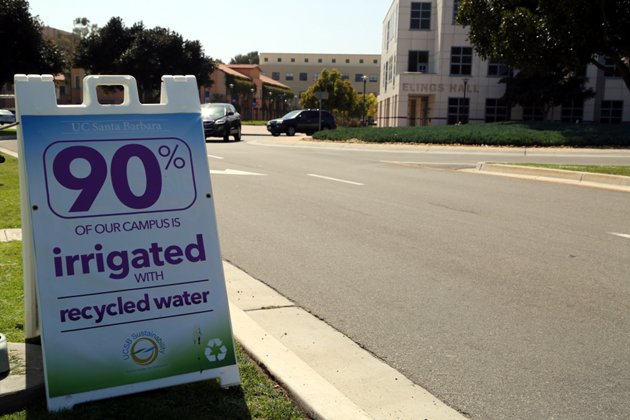 <p>Informational signage about UCSB&#8217;s water conservation achievements have been posted across campus.</p>