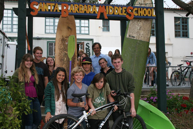 <p>Santa Barbara Middle School students join Head of School Brian McWilliams for a photo commemorating their &#8220;Pedal and Paddle&#8221; fundraising effort. McWilliams has promised to sport a purple mohawk hairdo if students meet their $50,000 goal.</p>