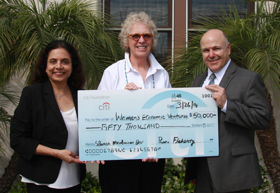 <p>Marsha Bailey, center, founder and CEO of Women's Economic Ventures, receives a $50,000 check for the WEV en Español Program from Rashi Kallur, vice president of Citi community development, and Ray Torres, branch manager/vice president of the Santa Barbara Citibank branch.</p>