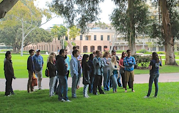<p>Newly admitted and prospective students learn more about the campus via a guided tour.</p>