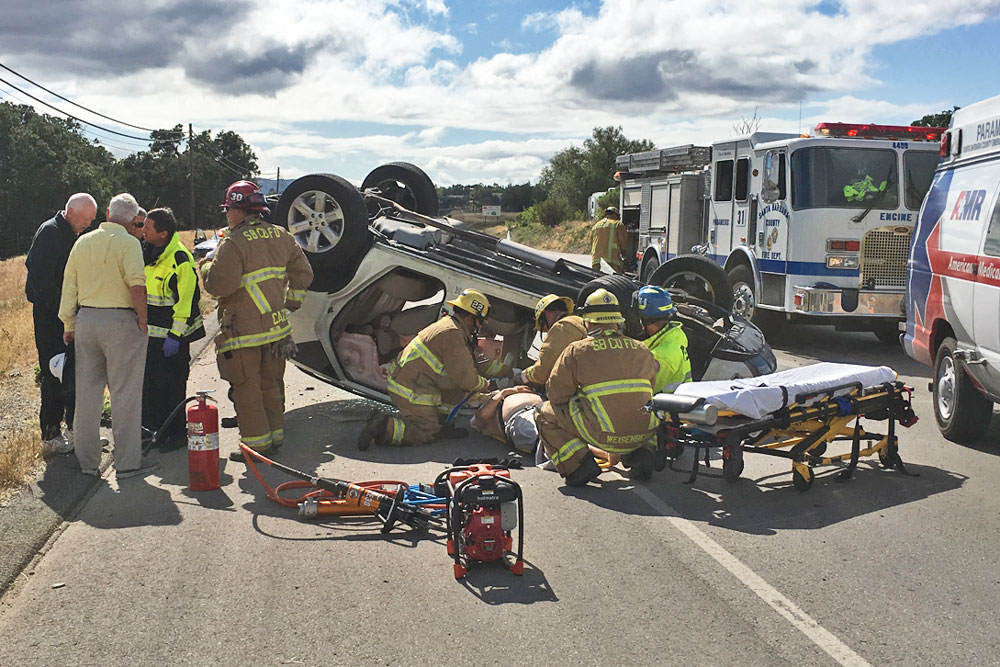One person was injured Tuesday afternoon in a crash on Highway 246 in Santa Ynez. The victim had to be extricated from one of two vehicles involved in the accident.