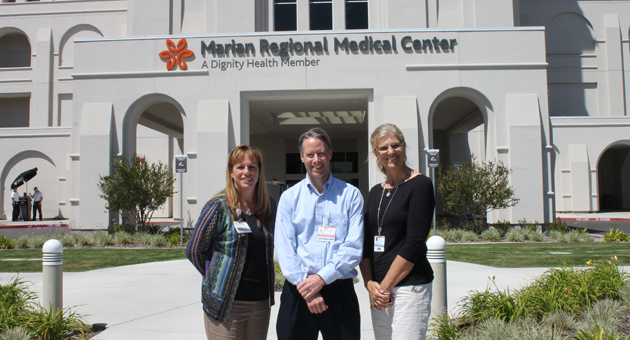 Marian Regional Medical Center in Santa Maria has been designed a Level III Trauma Center. Standing in front of the facility are, from left, Kerin Mase, RN, chief nurse executive and chief operating officer, Dr. David Ketelaar, co-medical director of the emergency department, and Lisa Abeloe, RN, trauma services coordinator. (Marian Regional Medical Center photo)