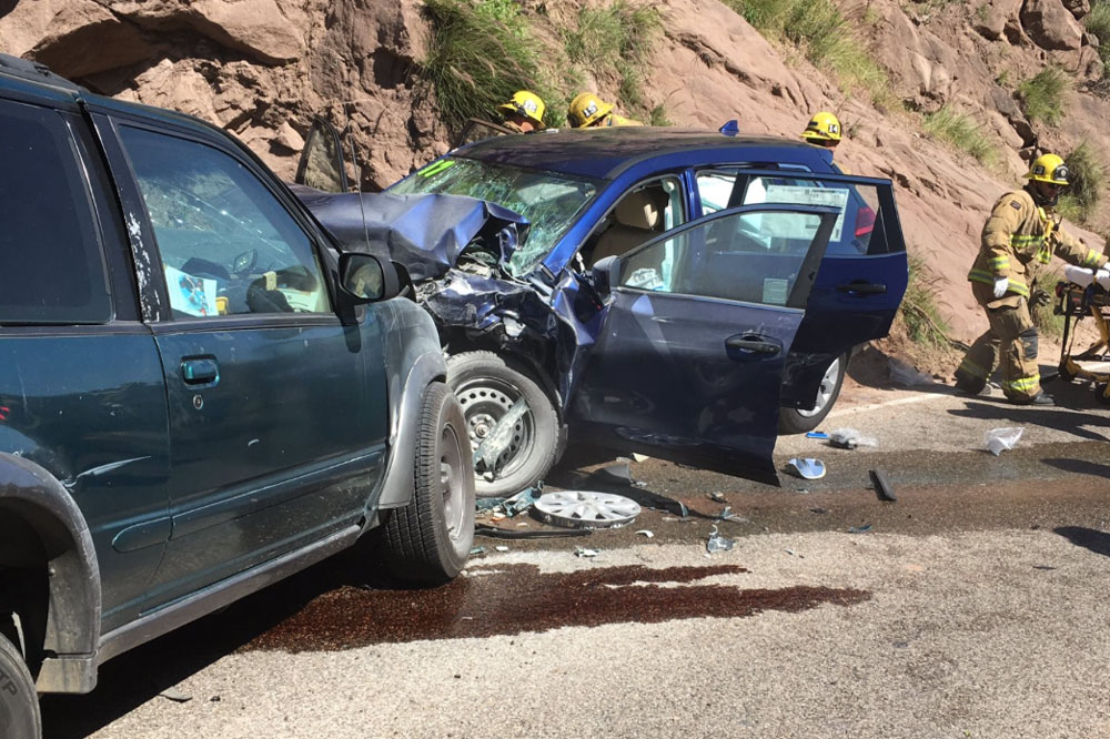 Five people were injured after a three-vehicle crash involving a head-on collision on Highway 154 Wednesday afternoon.