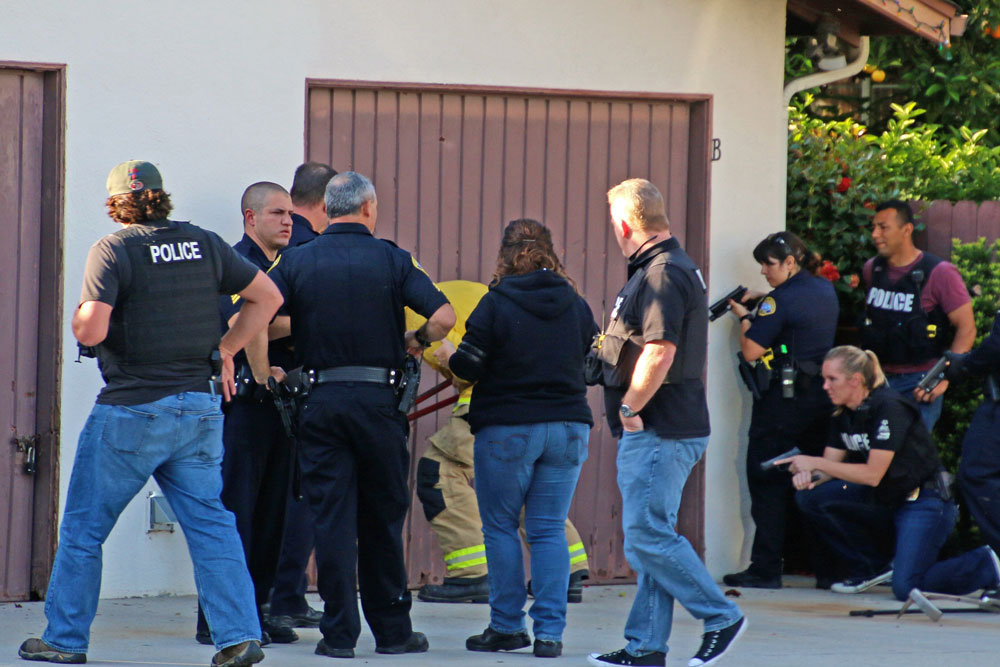 Police converged on a home on Santa Barbara's Westside Wednesday evening after receiving reports of a man who was behaving erratically and making threats.