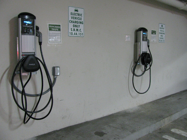 Electric-vehicle charging stations are up and running at the Granada Garage parking structure, 1221 Anacapa St. in Santa Barbara.