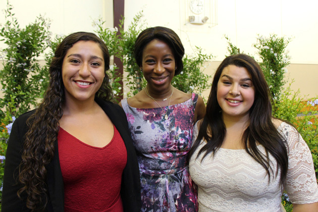 National scholars Ana Delgado, left, and Arianna Lopez, right, with inspirational speaker Saran Kaba Jones of FACE Africa at Girls Inc. of Carpinteria's Women of Inspiration Luncheon.