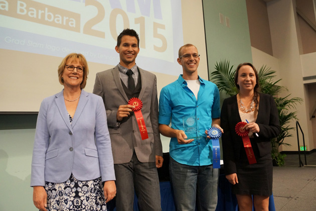 UCSB Graduate Division Dean Carol Genetti, left, with Grad Slam runner-up Abel Gustafson, winner Daniel Hieber and runner-up Jessica Perkins.