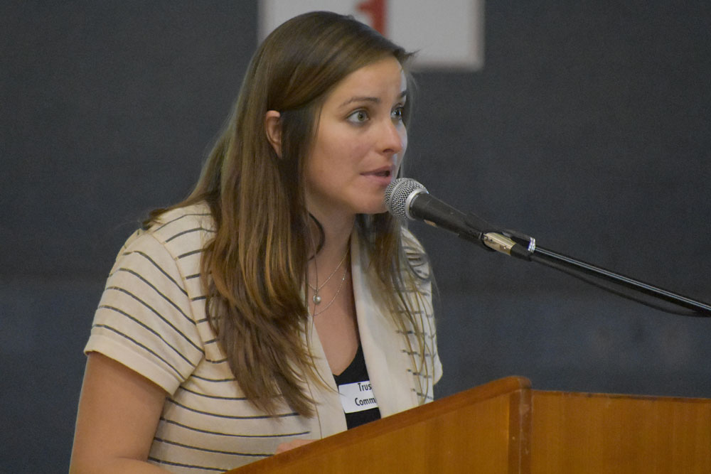 Hazel Davalos from CAUSE speaks during the Santa Maria City Council meeting Thursday night on district-based elections.