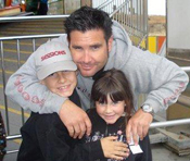 Giants fan Bryan Stow, seen with his son and daughter, was severely beaten at the home-opener for the L.A. Dodgers.