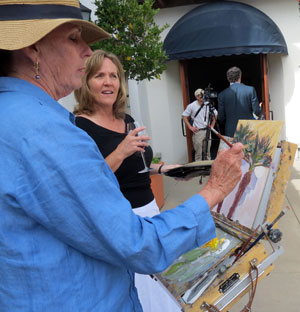 Sunday's open house at Bacara Resort & Spa featured local artwork, including a live demonstration by Santa Barbara plein air painter Leigh Sparks. (Gina Potthoff / Noozhawk photo)