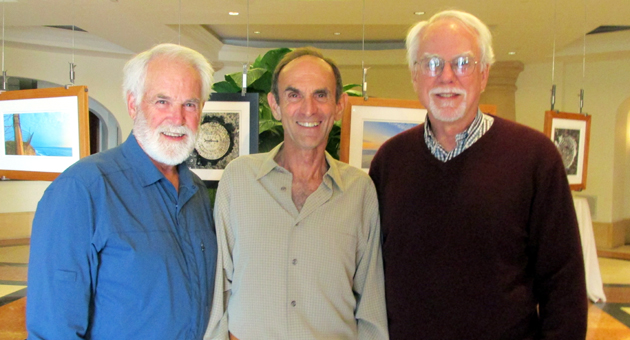 <p>From left, Mike Lunsford, photographer Reeve Woolpert and Gaviota Coast Conservancy president Phil McKenna at the &#8220;Visions of the Gaviota Coast&#8221; exhibition.</p>