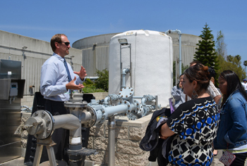 Project engineer James Winslow explains the FOG (fats, oils and grease) receiving facility at the El Estero Wastewater Treatment Plant. (Giana Magnoli / Noozhawk photo)