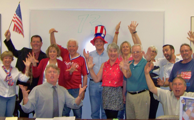 <p>Members of the two Goleta Rotary clubs have a blast while planning their annual Fourth of July Fireworks event.</p>