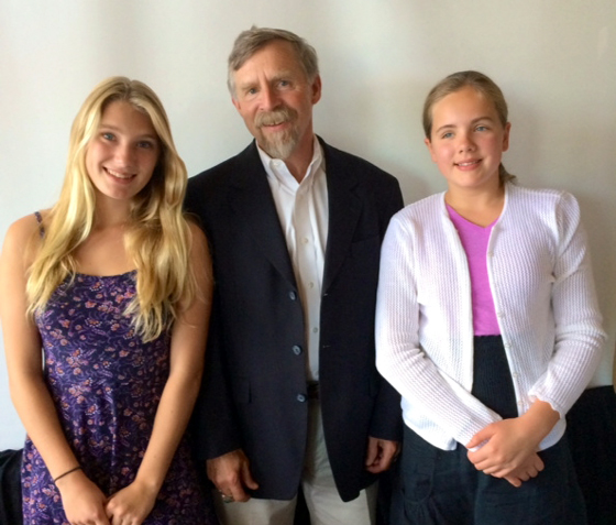 <p>UCSB biochemist Dr. Dennis Clegg with Lily Wash, left, and Meghan Downing.</p>