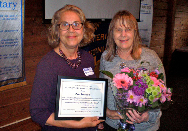 <p>Rotary Club of Carpinteria vocational co-chair Michelle van Wingerden, left, presents a Vocational Service Award to Zoe Iverson.</p>