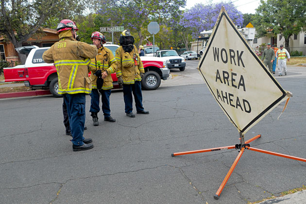 santa barbara firefighters some wearing special protective
