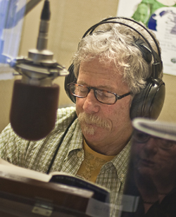 Chris Hillman gets to work as a volunteer reader for the Record-a-Thon