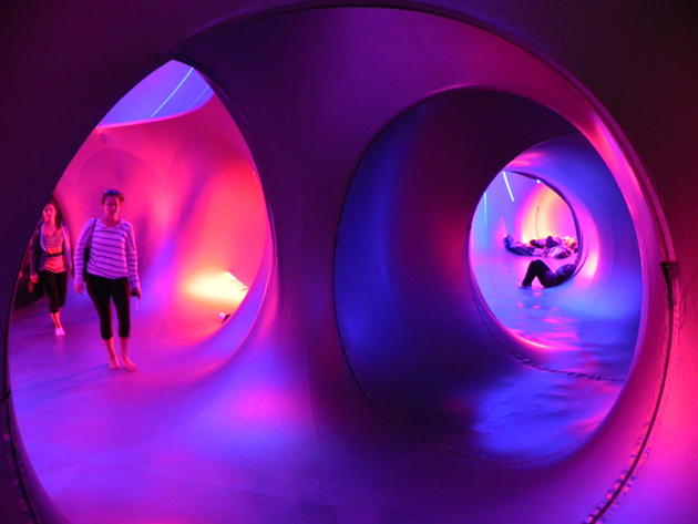 Visitors explore the Mirazozo Luminarium, a traveling work of art on display last week at UCSB.