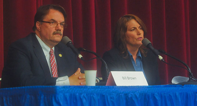 <p>Santa Barbara County Sheriff Bill Brown and his challenger, Sgt. Sandra Brown, face off in an election forum Wednesday night in Goleta.</p>