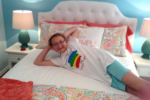 Amanda Jackson feels right at home in her newly renovated bedroom.