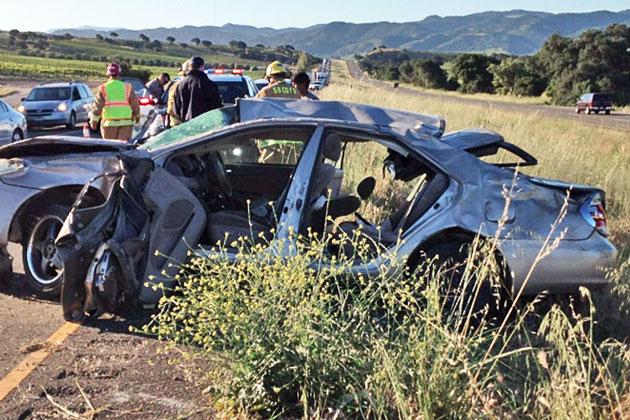 Two people were seriously injured Saturday in a rollover crash on Highway 101 near Los Alamos.