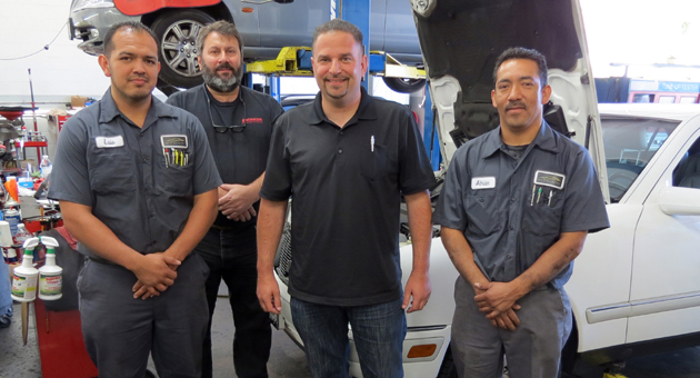 <p>Goleta native Oren Glasman, center, poses with his automotive team at Oren&#8217;s Automotive, formerly Imported Auto Services in Santa Barbara&#8217;s Funk Zone. From left are Luis Fernandez, Gary Semerjian (former owner), Glasman and Adrian Avila.</p>
