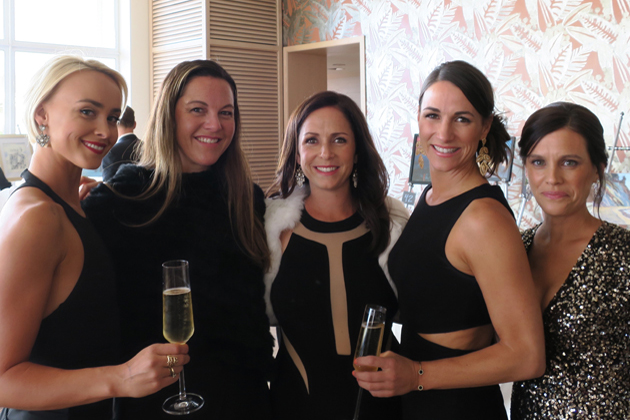From left, event committee member Amanda Lee, Holly Parker, event committee member Hayley Carty, and auction committee co-chairwomen Alexis Courson and Dianne Duva at All Saints By-the-Sea Parish School's spring benefit Saturday night at the Coral Casino Beach & Cabana Club.