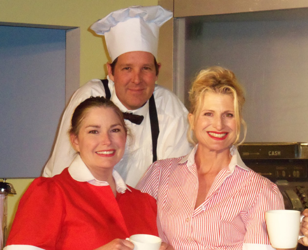 <p>Jean Hall (Louise), Sean O&#8217;Shea (Wally) and Tiffany Story (Janet) play characters whose lives become intertwined in Circle Bar B Dinner Theatre&#8217;s production of <i>Wally&#8217;s Caf&#233;</i>, running through May 20.</p>