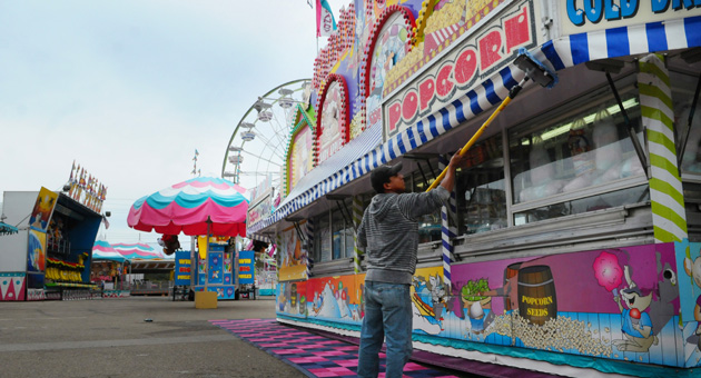 Jose Hernandez prepares a food station for this year's Santa Barbara Fair & Expo, opening Wednesday at the Earl Warren Showgrounds.