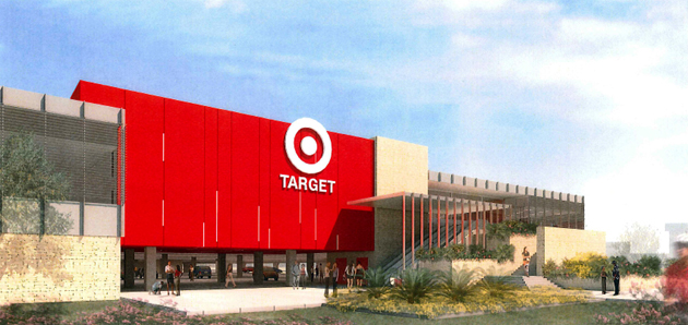 Target would like to build a store at Hollister Avenue and Los Carneros Way in Goleta. Some Design Review Board appointees were seeing red after the retailer's April 23 presentation, however. (Target rendering)