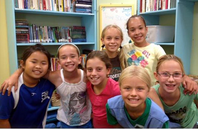 <p>Members of Santa Barbara Junior Girl Scout Troop 50636 pose in the activity and reading center they helped create for CASA of Santa Barbara County. Pictured are, front row from left, Camille Cheng, Jillian Avila, Tali Gerstenfeld, Madison Martinich and Dorienne Larbig, and back row from left, Katelyn Rode and Amanda Avila. Chloe Harrah is not pictured.</p>
