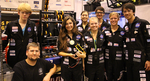 <p>Members of the DPEA Team 1717, from left, Alex Meiburg, Doug Bowlus, Raven Bourgey, Sophie Russo, Hanna Nolan, Jieh Meinhold, Sydney Eilbacher and Nicolas Jones at the FIRST Robotics World Championships under way in St. Louis, Mo.</p>