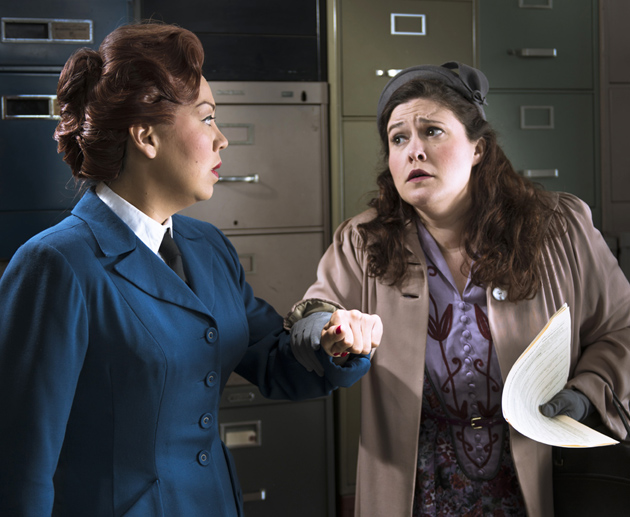<p>Nina Yoshida Nelsen, left, is a bureaucrat secretary and Alexandra LoBianco is desperate to obtain a visa in <em>The Consul</em>.</p>