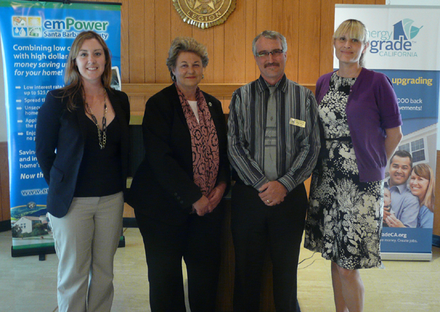 Angie Hacker, left, emPowerSBC program manager, 3rd District Santa Barbara County Supervisor Doreen Farr, Solvang City Manager Brad Vidro and emPowerSBC's Ashley Watkins attend Thursday's home energy upgrade workshop at the Solvang Veterans' Memorial Hall.