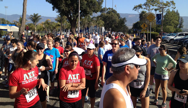 Runners gathered at the starting line of UCSB's Gaucho Gallop 5k and 10k outside Harder Stadium on April 27.