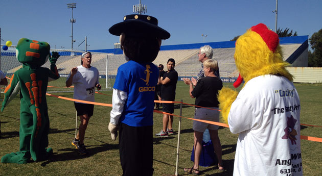 Gaucho Gallop runners were greeted with high fives at the finish line from Geico's gecko, an event sponsor, and UCSB's gaucho mascot.