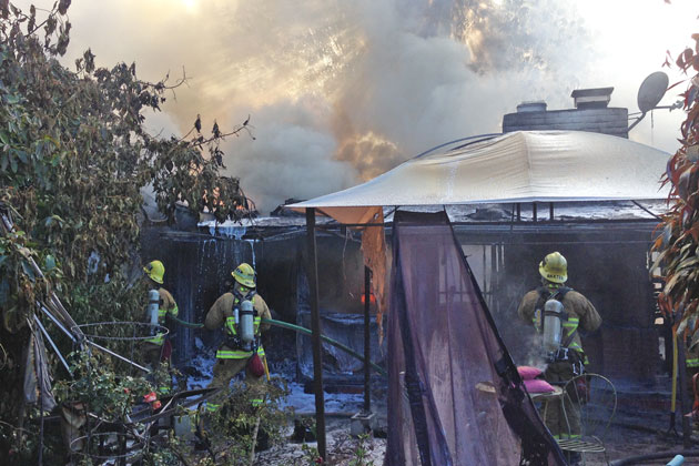 A two -alarm structure fire broke out Monday morning on Loureyro Road in Montecito.
