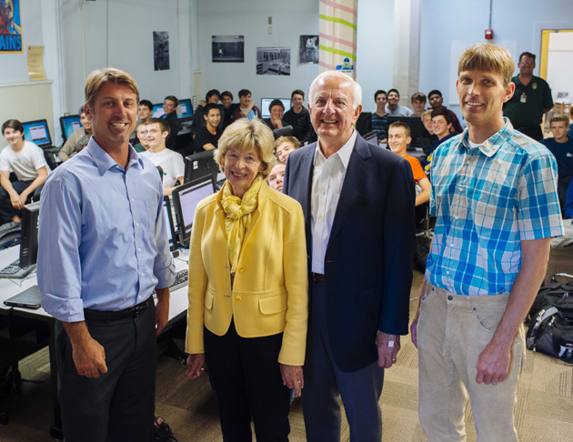 Representatives from the Mosher Foundation visit with the students from Richard Johnston's Introduction to Computer Science class in Santa Barbara High School's Computer Science Academy. From left are SBHS Principal John Becchio, Sue and Ed Birch, and CS Academy Director Paul Muhl.